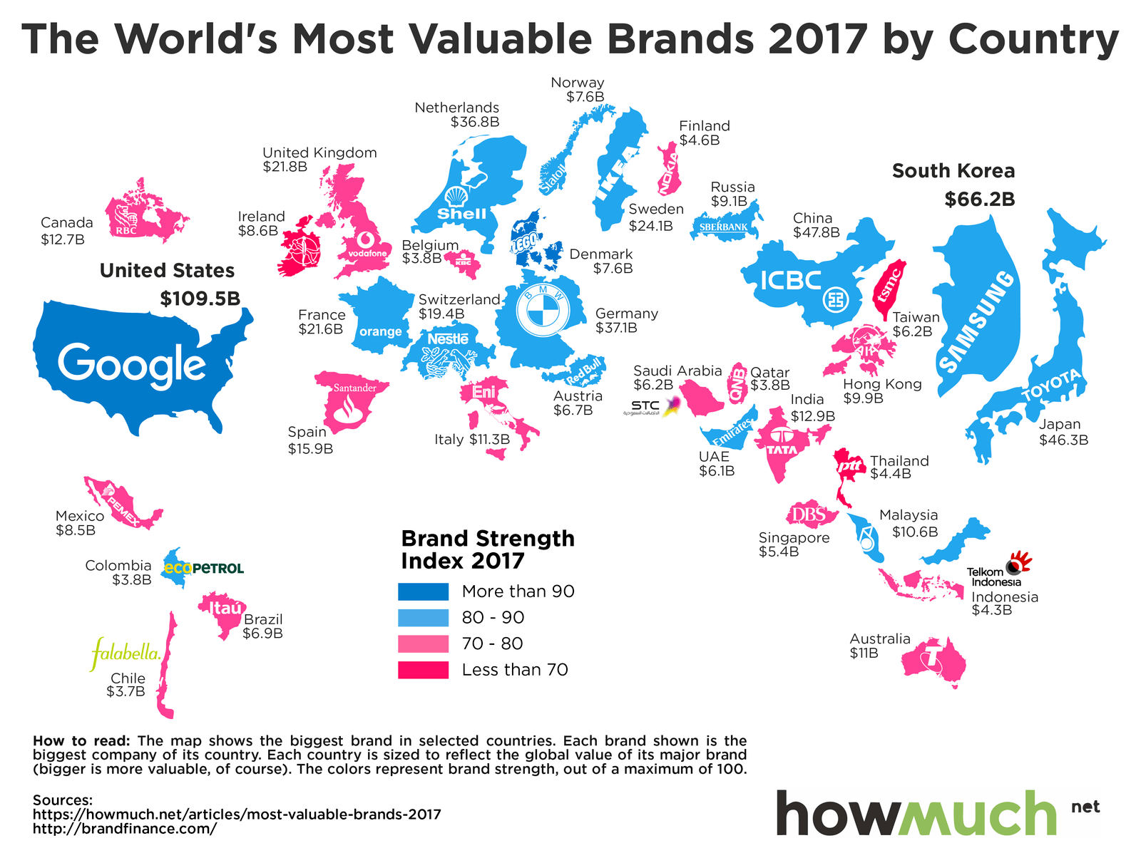 Top brands by country map of the worlds most valuable brands by my latest article on seekingalpha lists out the ticker symbols of the howmuch 2017 list of the worlds most valuable brands biocorpaavc Gallery