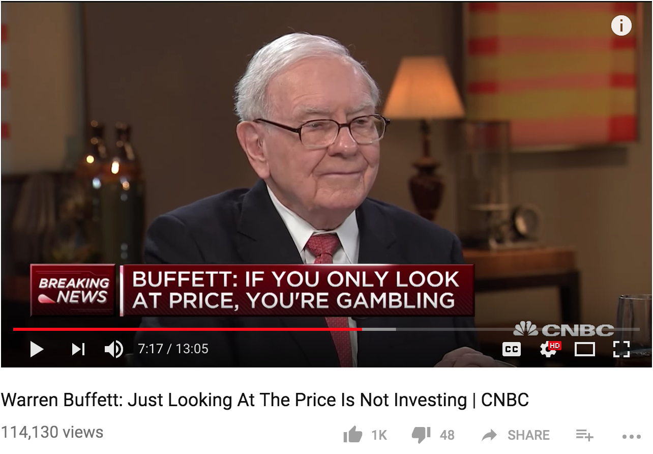 Warren Buffett: Just looking at prices is gambling, not investing