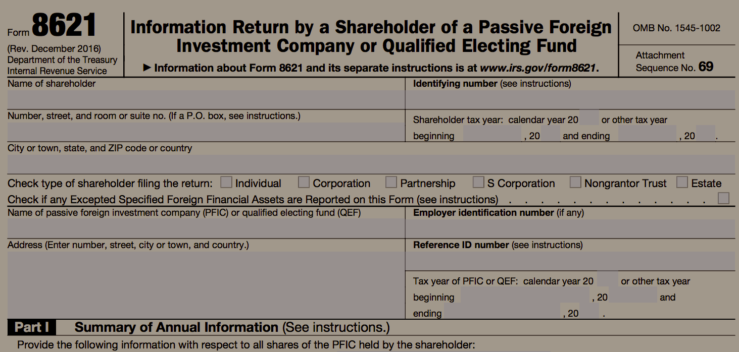 IRS Form 8621 for PFICs (Foreign Mutual Funds)