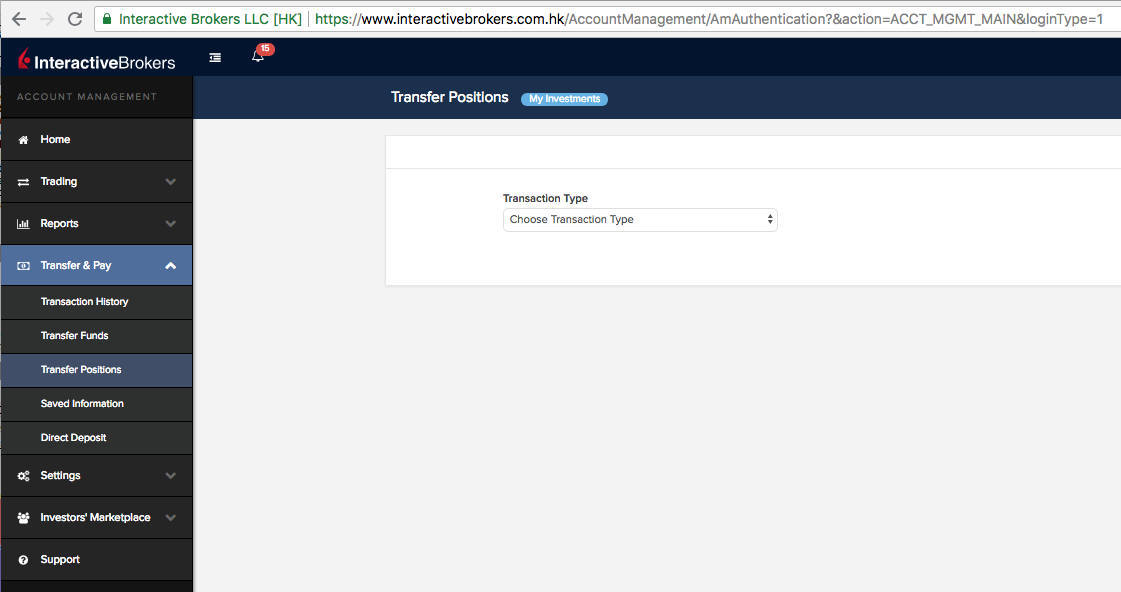 Interactive Brokers transfer positions